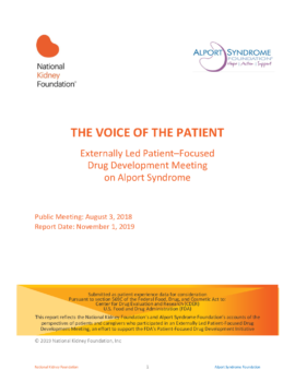 2019: Voice of the Patient Alport Syndrome FDA Meeting