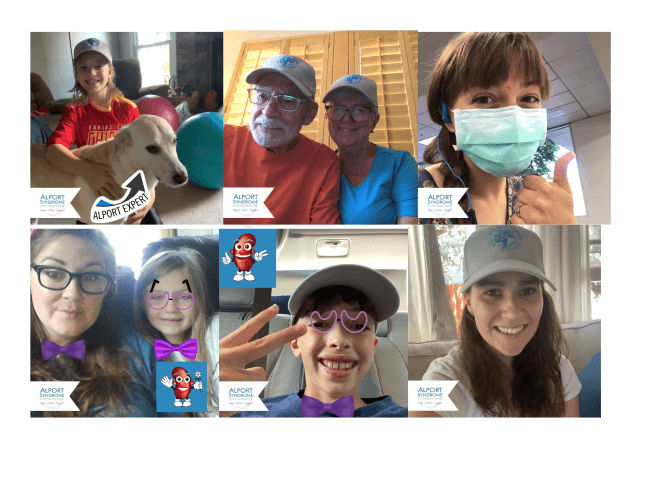 Photo booth collage from Virtual Alport Family Meeting